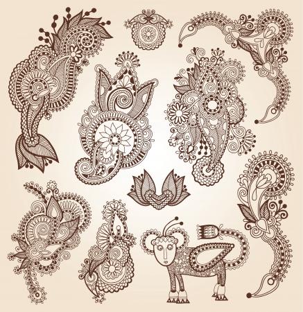 henna design: l�nea de arte adornado colecci�n dise�o de la flor, estilo �tnico ucraniano, autotrace de dibujo a mano