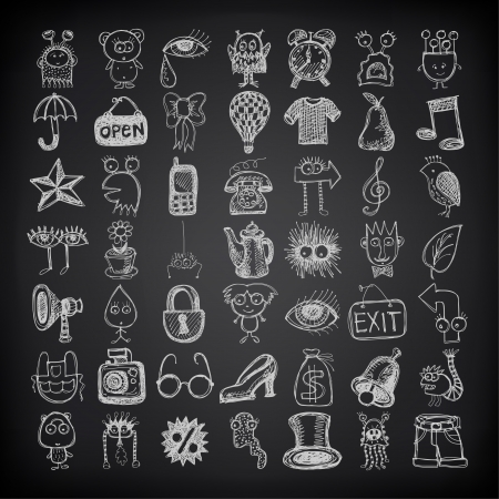 49 hand drawing doodle icon set on black background Stock Vector - 21759028