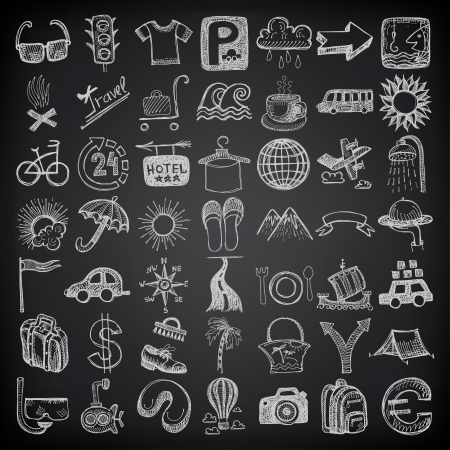 49 hand drawing doodle icon set, travel theme on black backgraund Vector