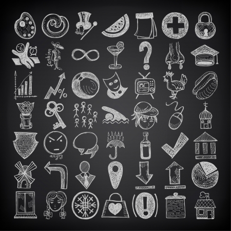49 hand drawing doodle icon set on black background  イラスト・ベクター素材