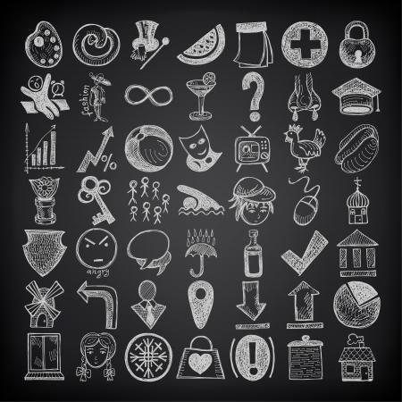 ni�as ba�andose: 49 de dibujo a mano conjunto de iconos del doodle en fondo negro Vectores