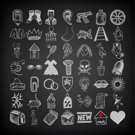 49 hand drawing doodle icon set on black background Stock Vector - 21759032