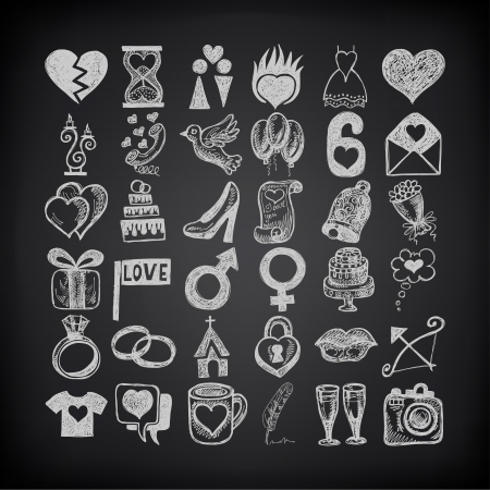 36 hand drawing doodle icon set, wedding sketchy illustration on black background Vector