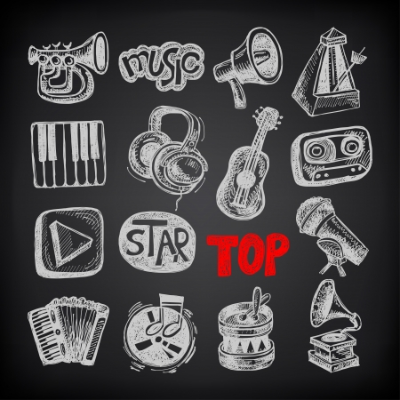 drum set: sketch music icon element collection on black background Illustration