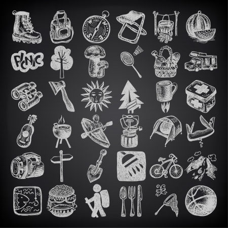 inc: sketch doodle icon collection, picnic, travel and camping theme on black background