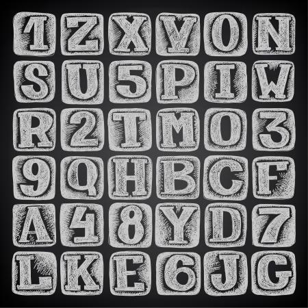hand draw sketch doodle alphabet design on black background