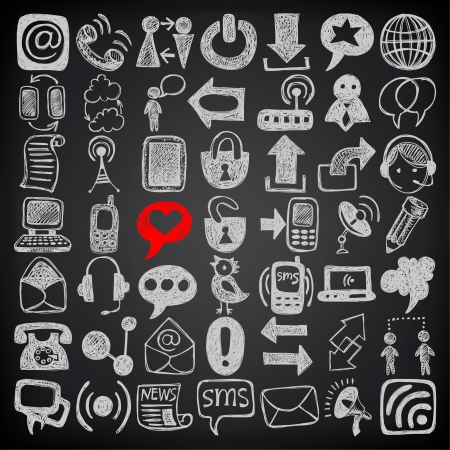 49 hand draw sketch communication element collection, icons set on black background