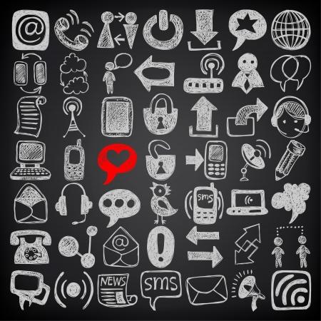 communication: 49 tirage main collection d'éléments de communication de croquis, icônes mis sur fond noir