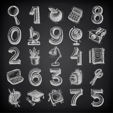 sacapuntas: 25 iconos del bosquejo de educación, números y objetos en el fondo negro
