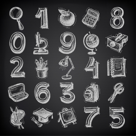 25 sketch education icons, numbers and objects on black background Vector