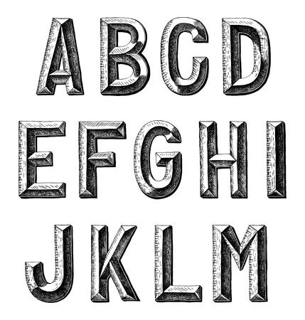손 스케치 알파벳 디자인을 그려