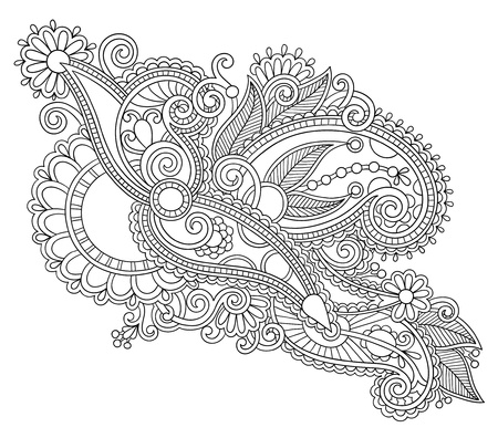 intricate: original hand draw line art ornate flower design  Ukrainian traditional style