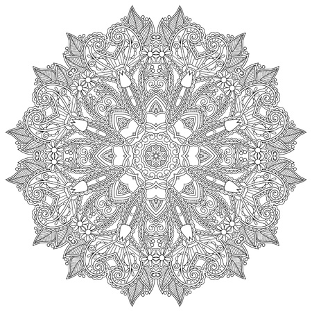 white silk: Circle lace ornament, round ornamental geometric doily pattern, black and white collection Illustration