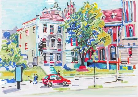 marker painting of cityscape 일러스트