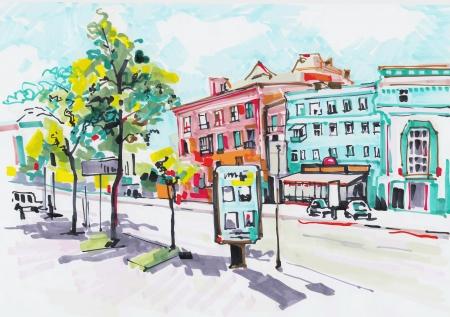 都市の景観のマーカー塗装