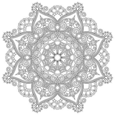 曼陀羅: サークル レース飾り, 装飾的な幾何学的なドイリー パターン、黒と白のコレクション ラウンド