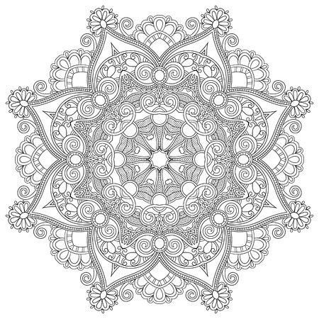 Circle lace ornament, round ornamental geometric doily pattern, black and white collection Ilustração