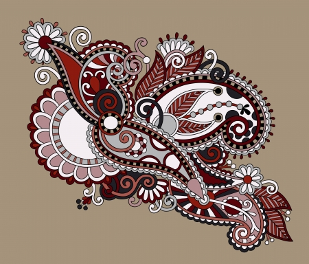 original digital draw line art ornate flower design. Ukrainian traditional style Illustration