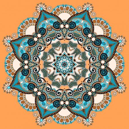Circle lace ornament, round ornamental geometric doily pattern Stock Vector - 21772288