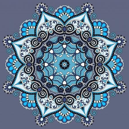 Circle lace ornament, round ornamental geometric doily pattern Vector