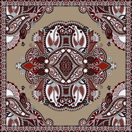western border: Traditional ornamental floral paisley bandanna. You can use this pattern in the design of carpet, shawl, pillow, cushion Illustration