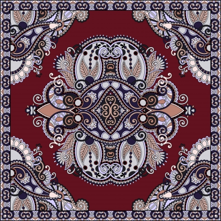 carpet design: Traditional ornamental floral paisley bandanna. You can use this pattern in the design of carpet, shawl, pillow, cushion Illustration