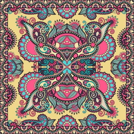 Traditional ornamental floral paisley bandanna. You can use this pattern in the design of carpet, shawl, pillow, cushion Stock Vector - 21791558