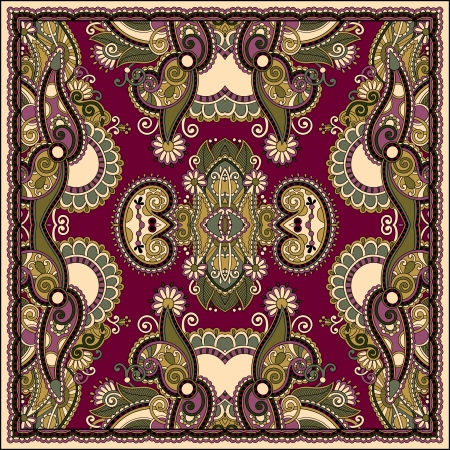 Traditional ornamental floral paisley bandanna. You can use this pattern in the design of carpet, shawl, pillow, cushion Stock Vector - 21791622