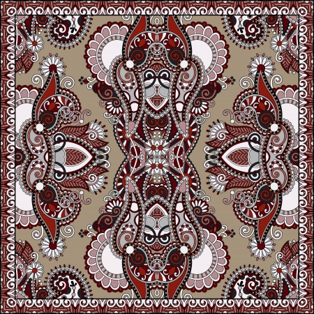 Traditional ornamental floral paisley bandanna. You can use this pattern in the design of carpet, shawl, pillow, cushion Stock Vector - 21791620