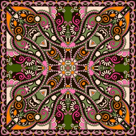 Traditional ornamental floral paisley bandanna. You can use this pattern in the design of carpet, shawl, pillow, cushion  イラスト・ベクター素材