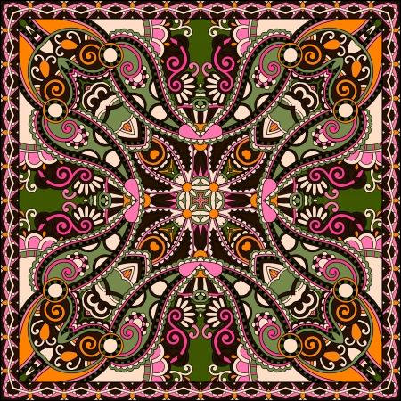 伝統的な観賞用花ペイズリー バンダナ。カーペット、ショール、枕、クッションの設計でこのパターンを使用することができます。