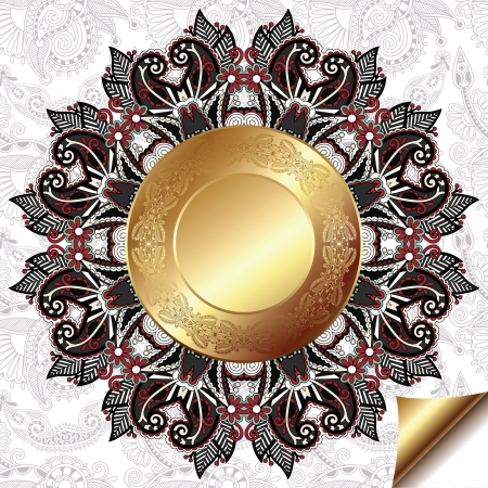light floral background with gold circle pattern and circle lace ornament, round ornamental geometric doily pattern Vector