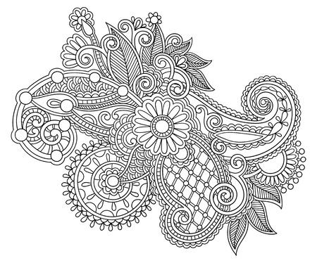 hindi: linea nera arte ornato disegno del fiore, stile etnico ucraino