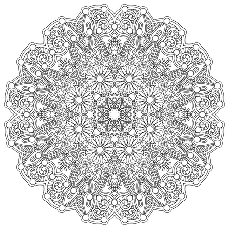 mandala tattoo: Circle lace ornament, round ornamental geometric doily pattern, black and white collection Illustration
