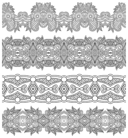 collection of seamless ornamental floral stripes, black and white collection Stock Vector - 21821042