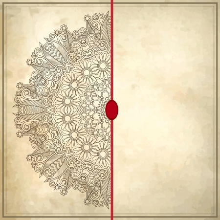 filigree background: flower circle design on grunge background with lace ornament. Ukrainian pattern on old paper vintage background