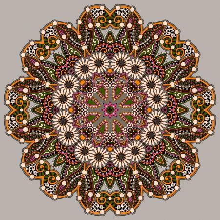 Circle lace ornament, round ornamental geometric doily pattern Stock Vector - 21821066