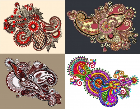 original hand draw line art ornate flower design. Ukrainian traditional style. Vector set Vector