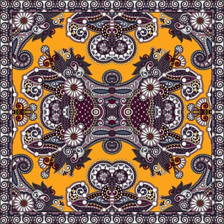 Traditional ornamental floral paisley bandanna. You can use this pattern in the design of carpet, shawl, pillow, cushion Stock Vector - 21877470