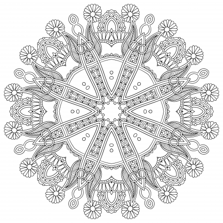 Circle lace ornament, round ornamental geometric doily pattern, black and white collection Stock Vector - 21881698