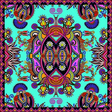 carpet design: Traditional ornamental floral paisley bandanna.  Illustration