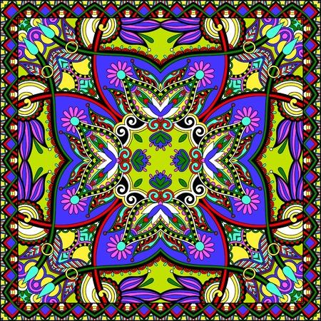 bandanna: Traditional ornamental floral paisley bandanna.  Illustration