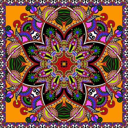 neck wear: Traditional ornamental floral paisley bandanna.  Illustration