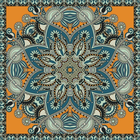 neck wear: Traditional ornamental floral paisley bandanna.  Illustration