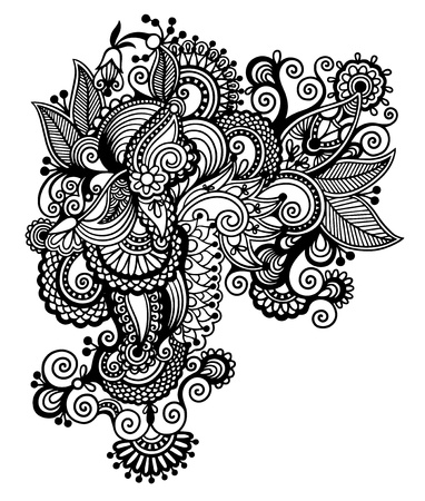 black line art ornate flower design, ukrainian ethnic style, autotrace of digital drawing