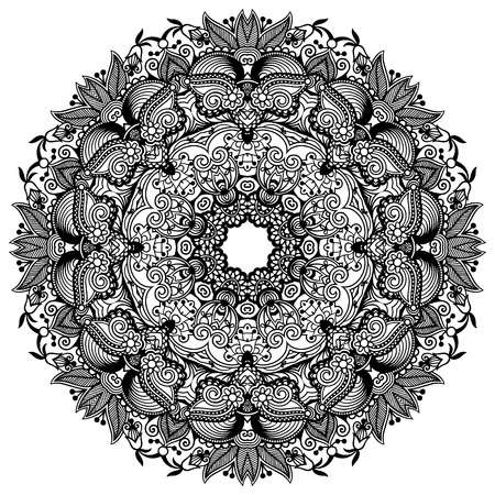 vetor: Circle lace ornament, round ornamental geometric doily pattern, black and white collection Illustration