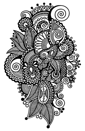 black line art ornate flower design, ukrainian ethnic style, autotrace of digital drawing Vector