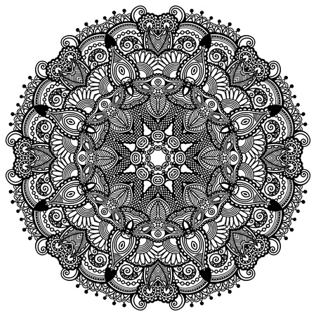 psychedelic background: Circle lace ornament, round ornamental geometric doily pattern, black and white collection Illustration