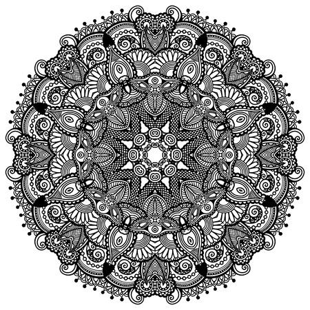 Ornement de dentelle cercle, modèle de napperon ornement géométrique ronde, collection noir et blanc