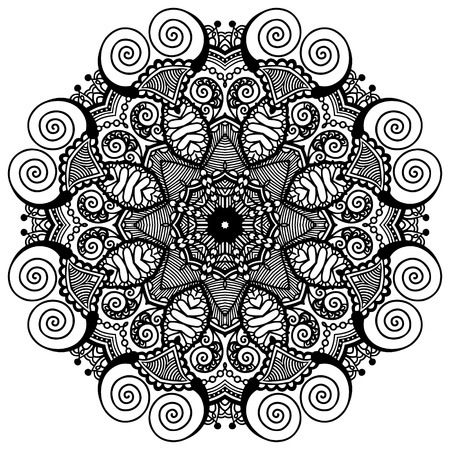Circle lace ornament, round ornamental geometric doily pattern, black and white collection Stock Vector - 21960366